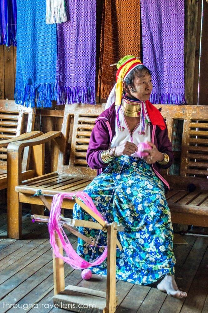 The Kayah women at the weaving factory at Inle Lake in Myanmar