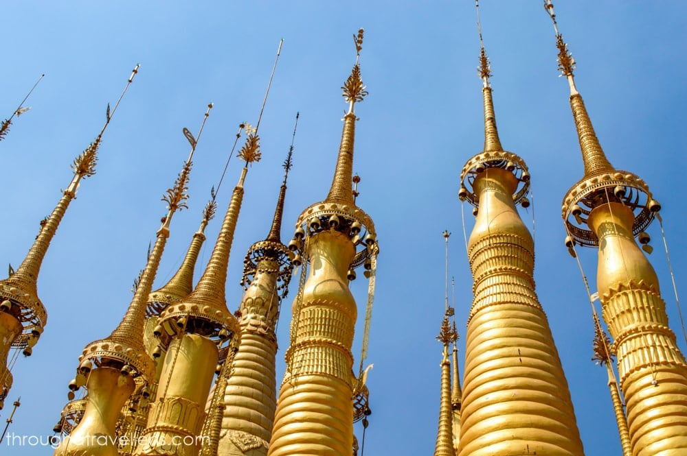 The bells on the tops of the Shwe Indein Pagodas