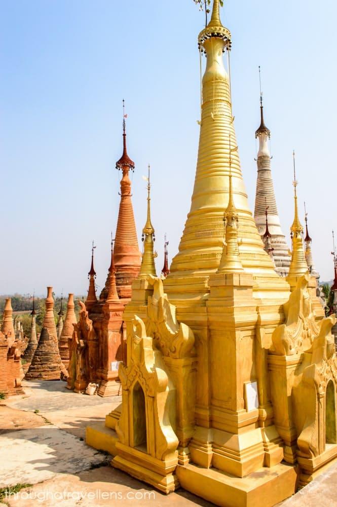 One of hundreds of stupas of the Shwe Indein Pagoda