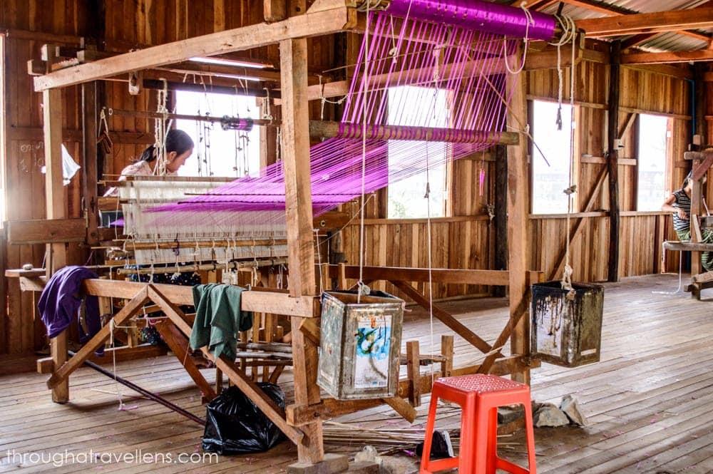Looms in weaving factories at Inle Lake