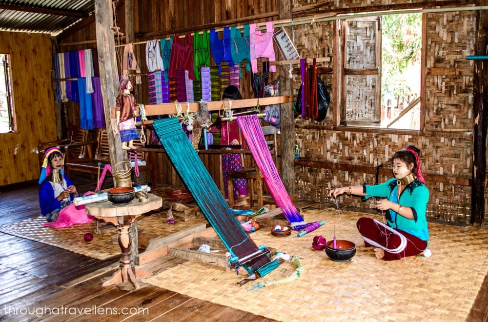 The Kayah women at the weaving factory