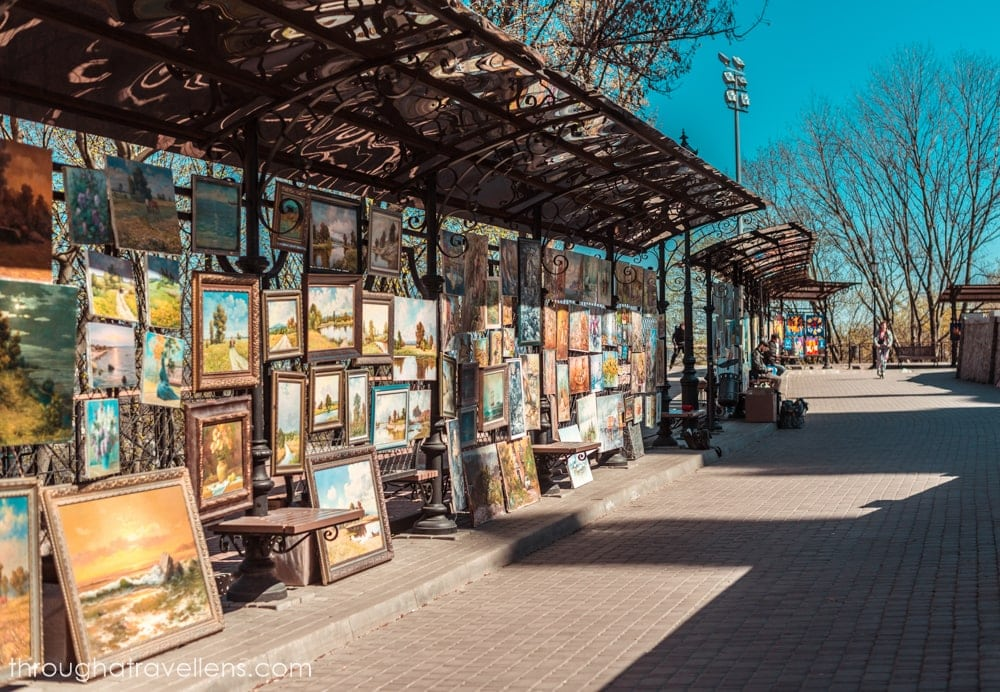 Kiev Old Town is famous for its artistic stalls
