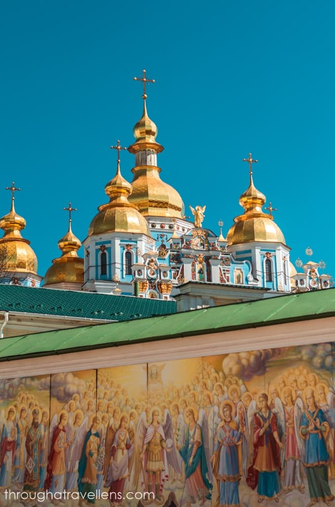 Kiev Old Town route and the golden domes of Mykhailivsky cathedral