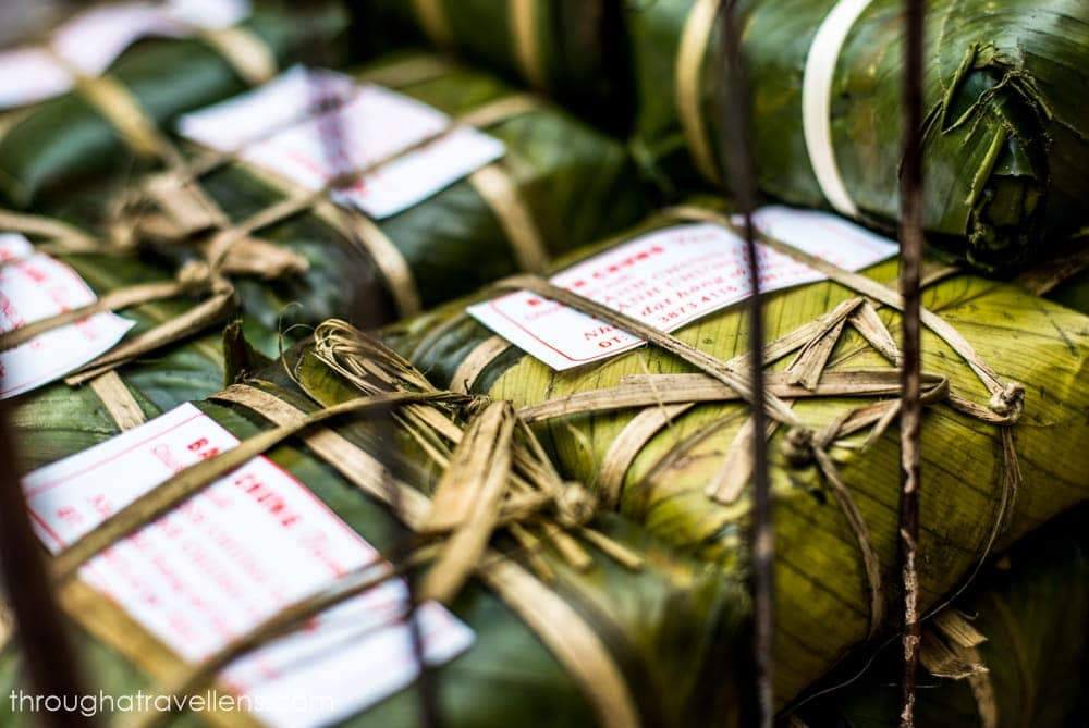 Hanoi offers plenty of foods to the foodies, including Banh tet – sticky rice cake in a palm leaf