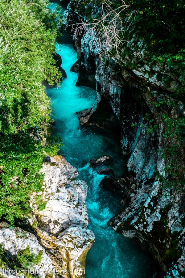 The waters of the river Soca in Slovenia