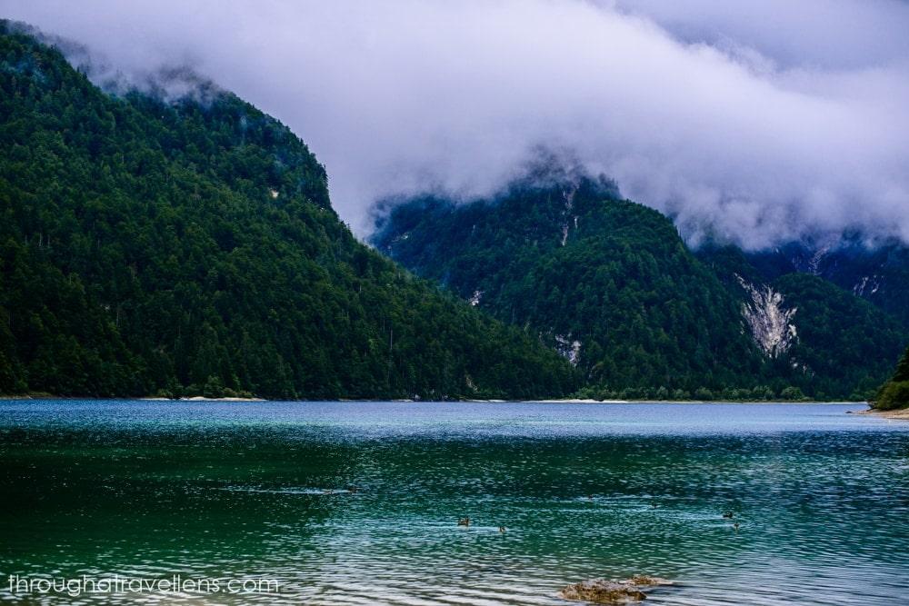 Lake Lago di Fusine Superiore in Italy, near Slovenia