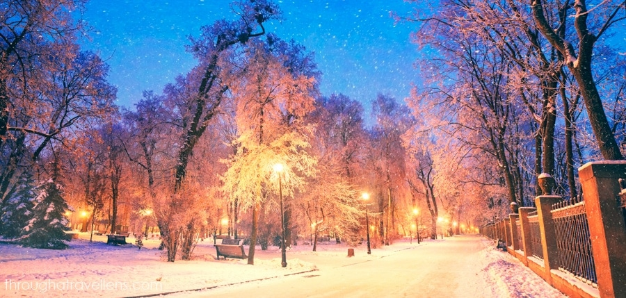 Walking in the park may be one of the best things to do in Kiev in winter