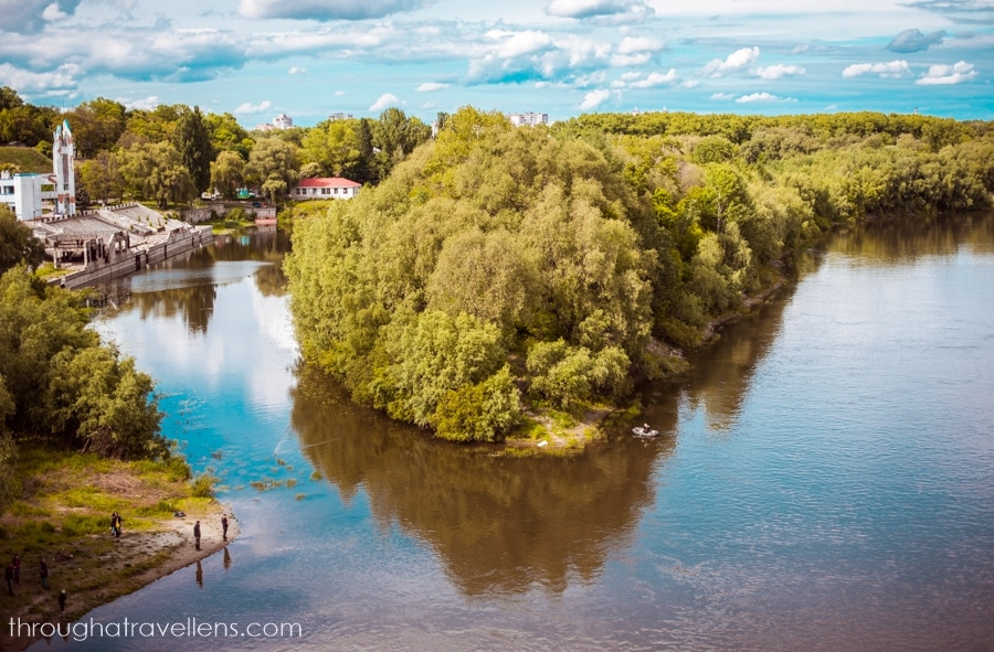 Desna river, view from the pedestrian bridge in Chernihiv