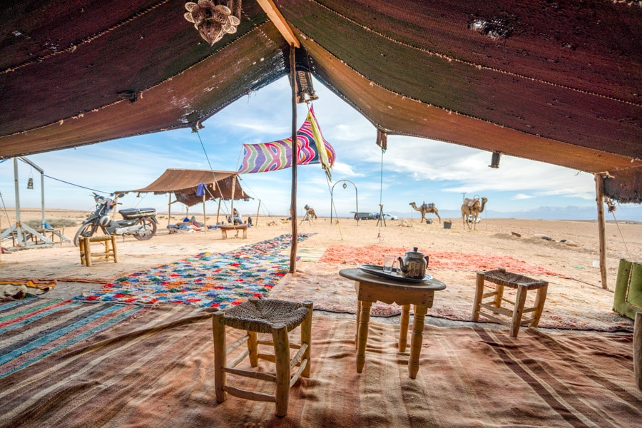 A bedouin tent in the Agafay desert