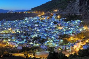 Medina of Chefchaouen in the evening