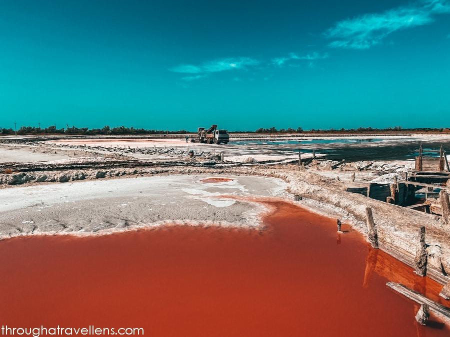 Harvesting of the pink salt at the Kinburn Spit
