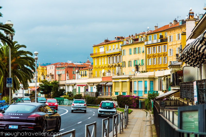 The architecture of the seafront. Nice in France in winter